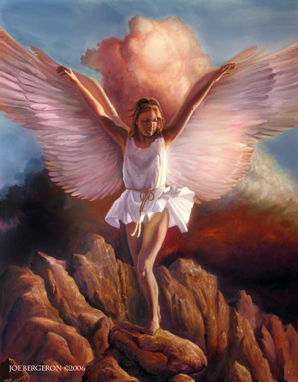 Landing angel for Angel paintings for sale
